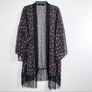 Honey Punch Printed Sheer Fringe Boho Kimono